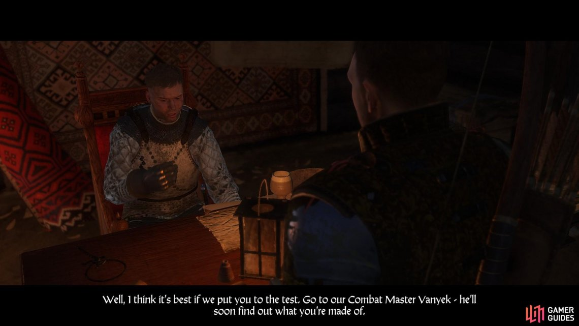 Erik will instruct you to see Combat Master Vanyek who is in the south east of the camp. You may note that you have seen him before.