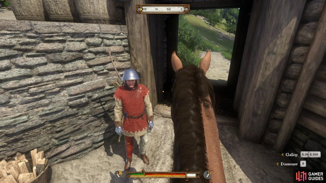 Once you are on the horse, make your way to the main castle gate to speak to Guard Radim. After some initial confusion, he will let you pass.
