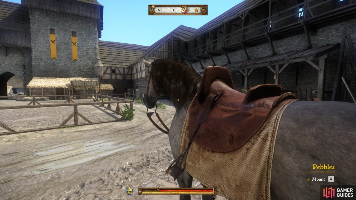 Mount Pebbles, your new horse, and ride to Neuhof.