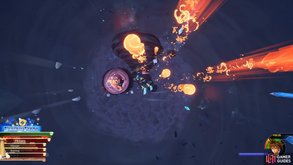 Avoid the blasts as you float down and attack at the end to inflict massive damage