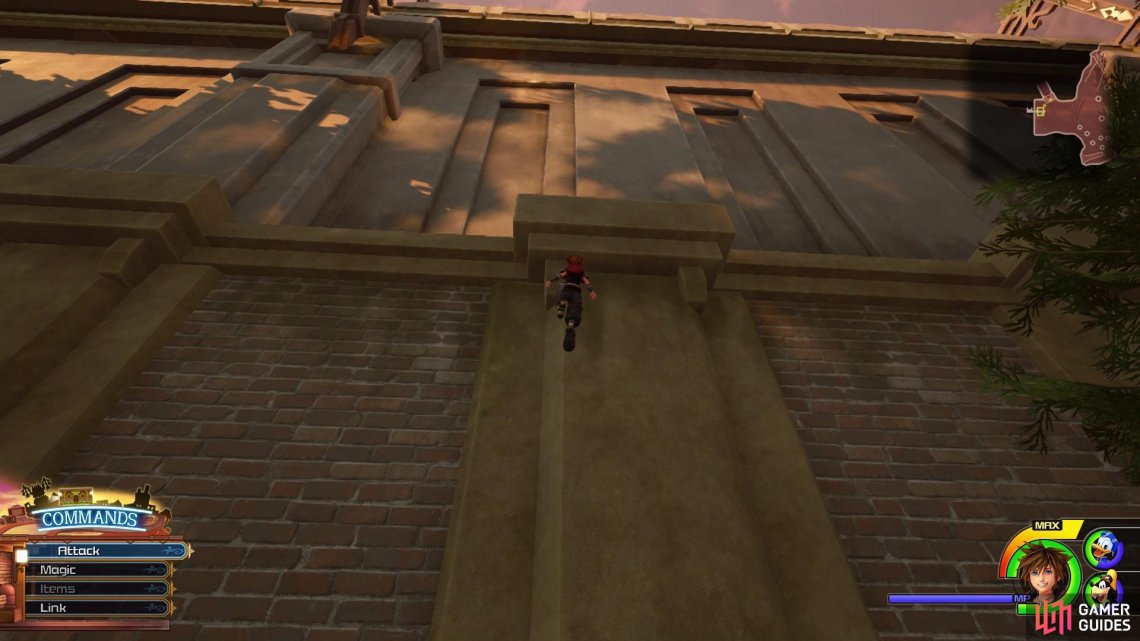 Climb up the wall by the entrance to the sewers
