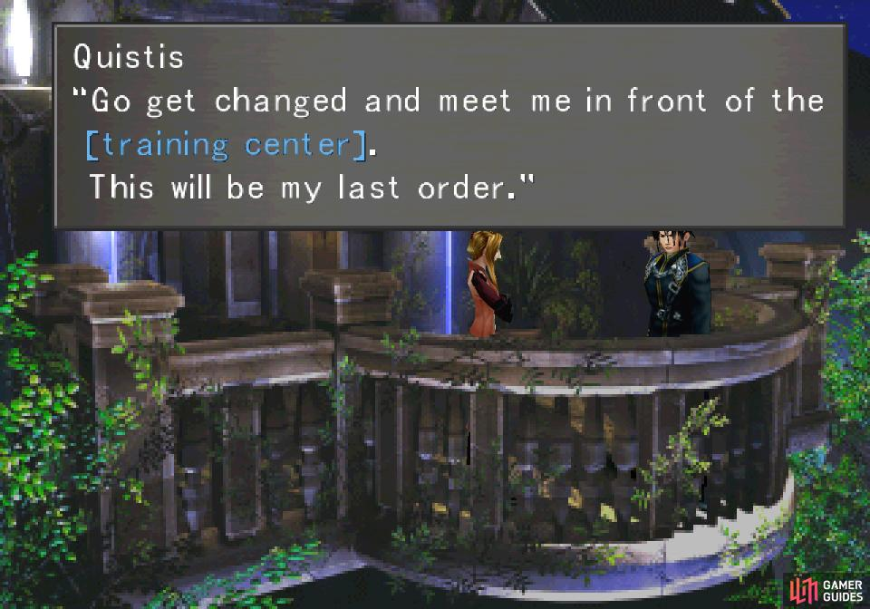 After Squall escapes from the dance floor, Quistis will corner him with an odd order