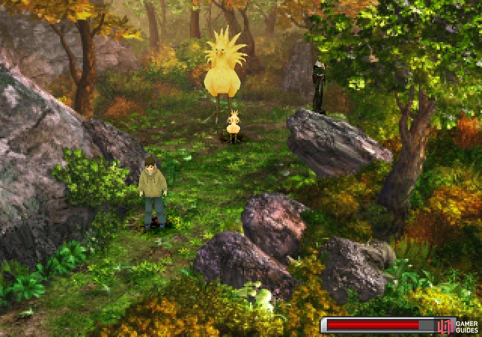 After luring out the chocobo, find the treasure with your ChocoSonar