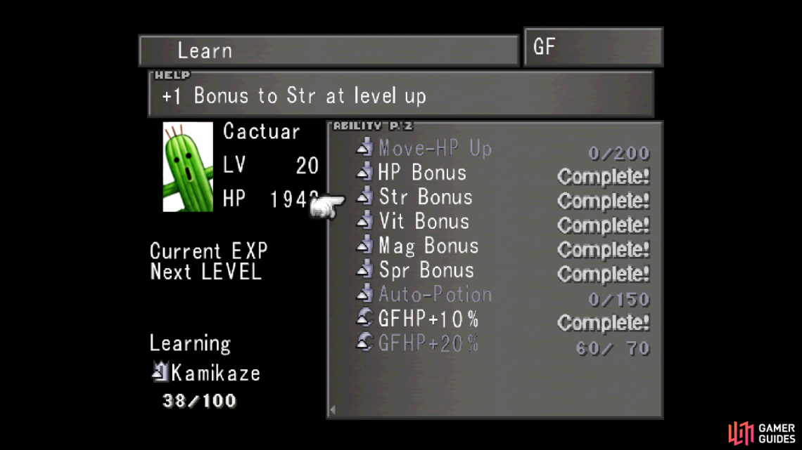 GFs like Cactuar have stat bonus abilities that permanently increase the junctioned character's stats when they level up.