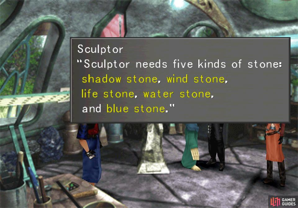 Talk to the Sculptor and he'll send you off on a hunt for a variety of stones.