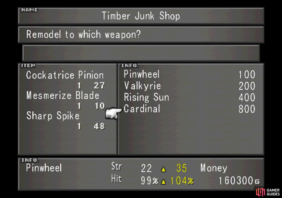 Next to the Timber Hotel you'll find a weapon shop, where you can create new weapons for Rinoa