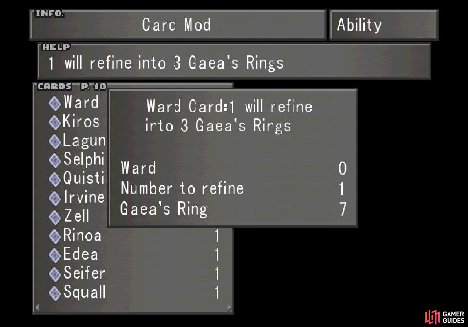The Ward Card can be refined into 3x Gaea's Rings