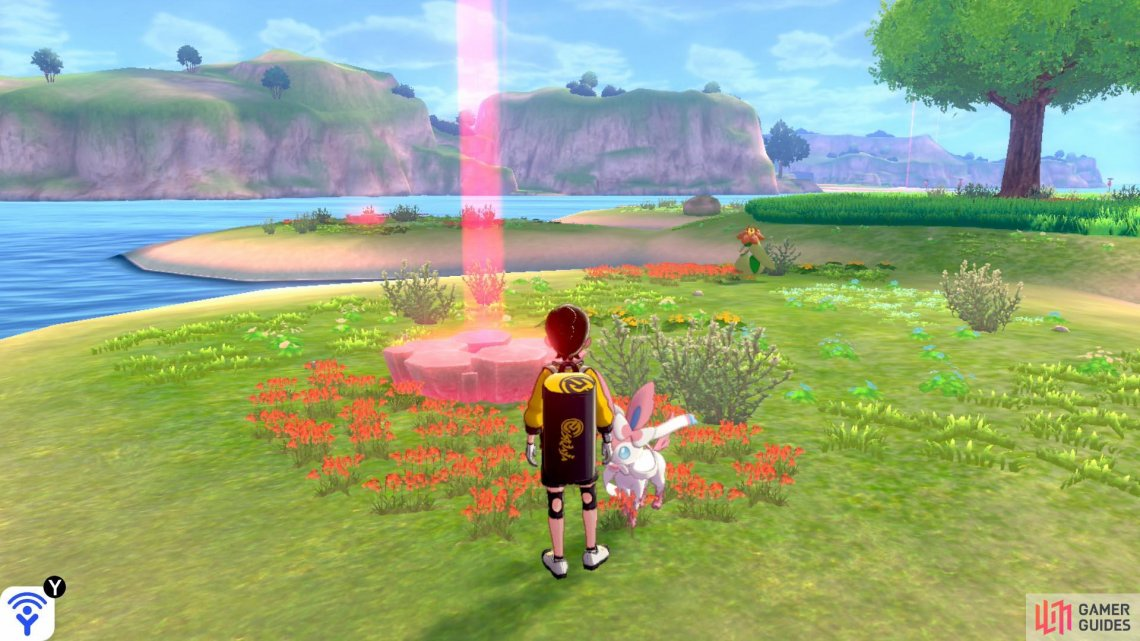 "There are six dens, each located on one of the ""petals"" of the island. All dens feature the same list of Pokémon."