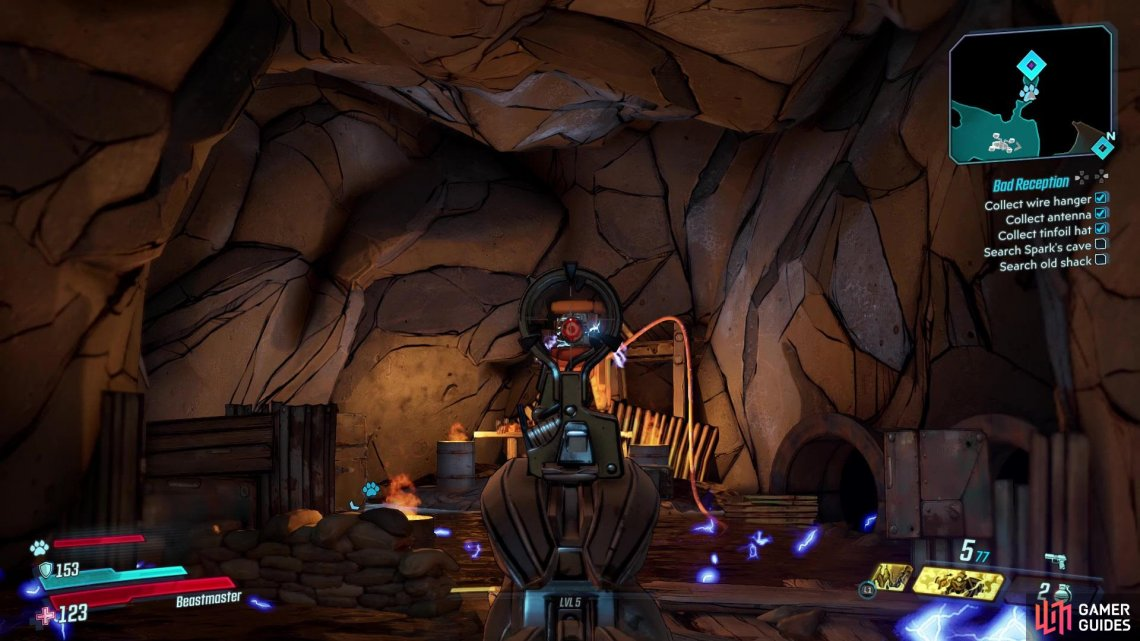 Once you've entered Sparks Cave, shoot the target at back of the room to deactivate the electricity,