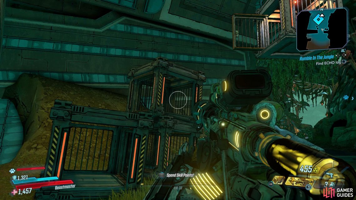 Head over to the waypoint on the map and use the cages to climb up to the hanging cage,
