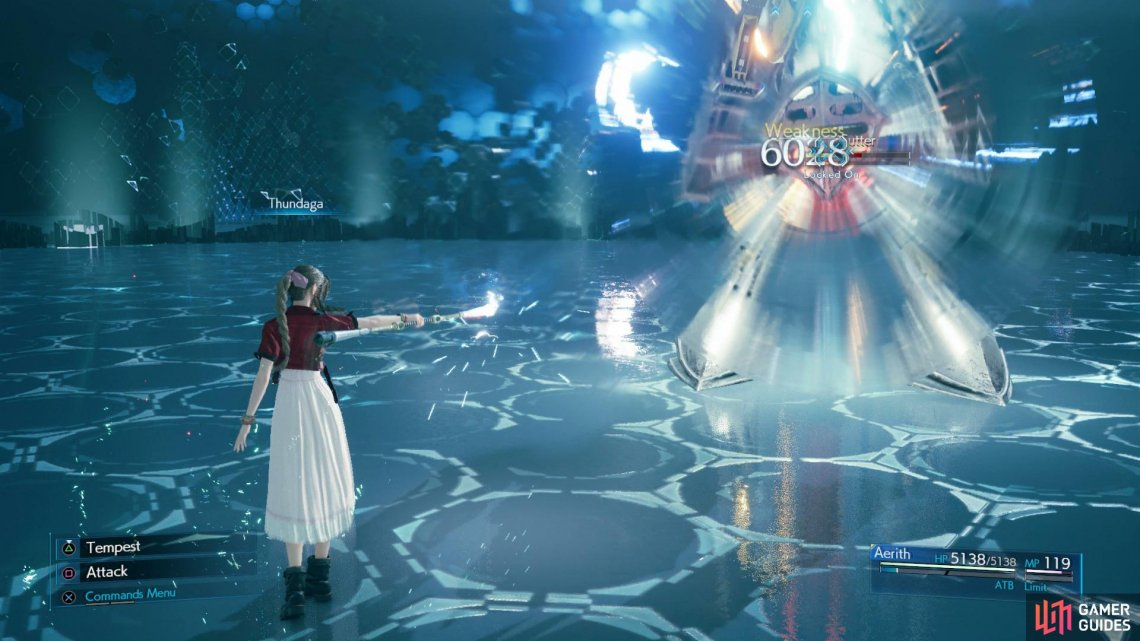 Aerith's Thunder spells will eat away at Cutter's HP in no time at all.