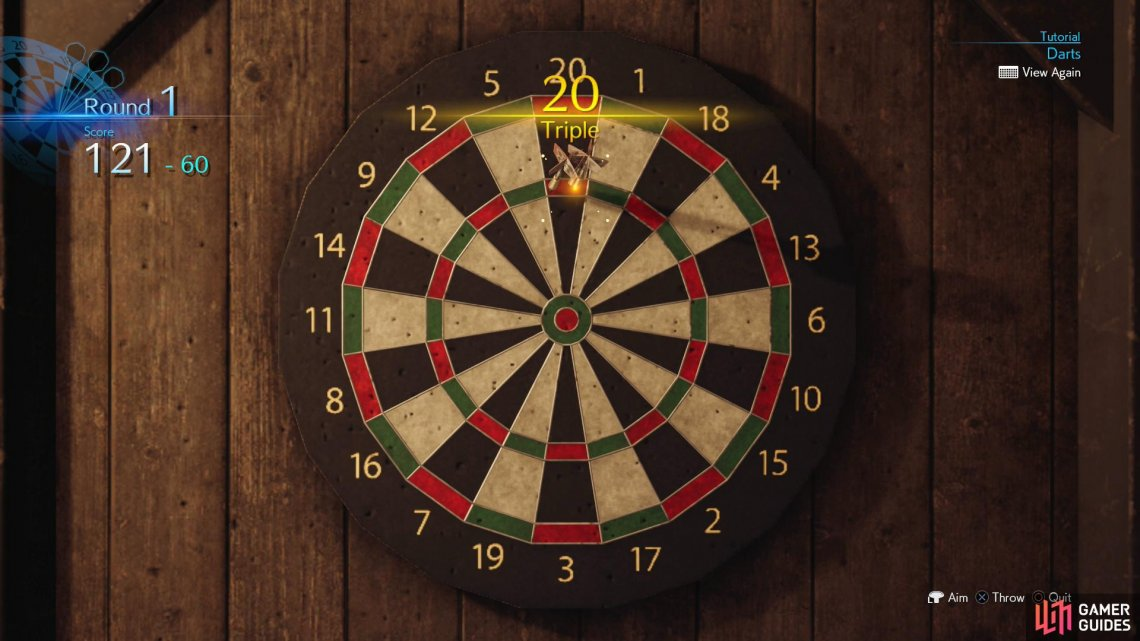 Your goal is to knock away as many points as possible with as few throws as possible - landing four darts in the 20x3 zone is a component for victory.