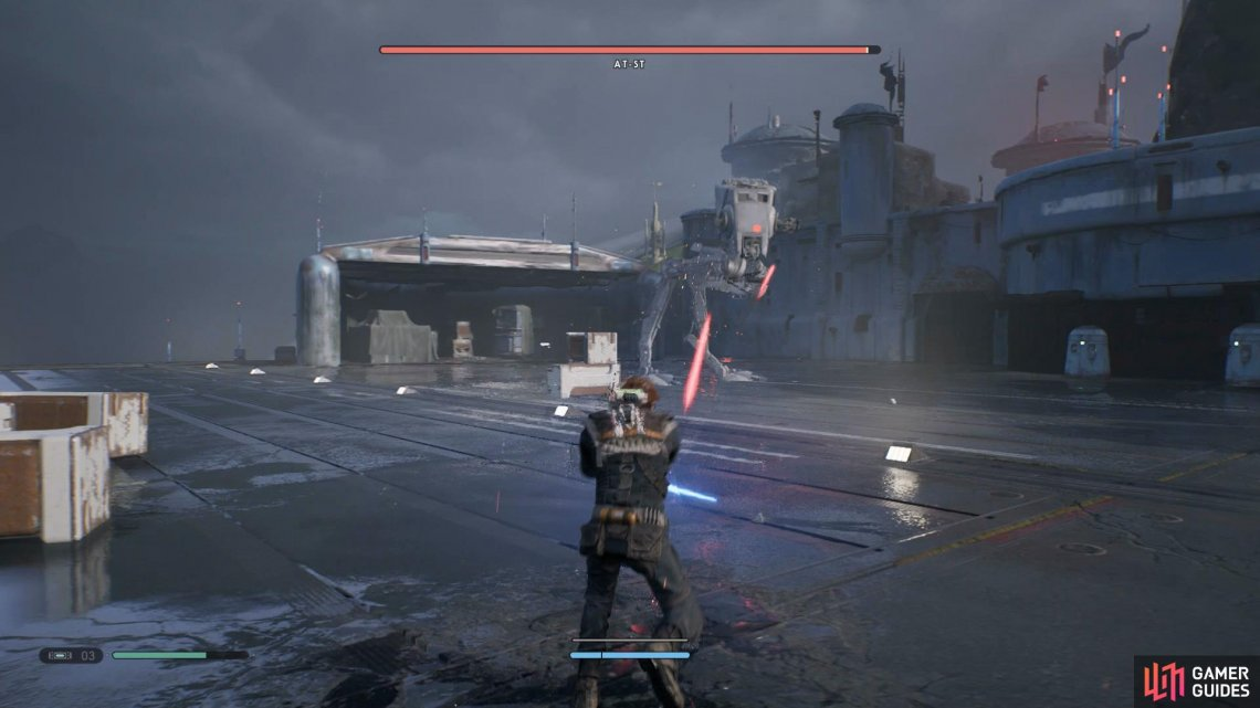 Use your Lightsaber to deflect any bullets back at the AT-ST