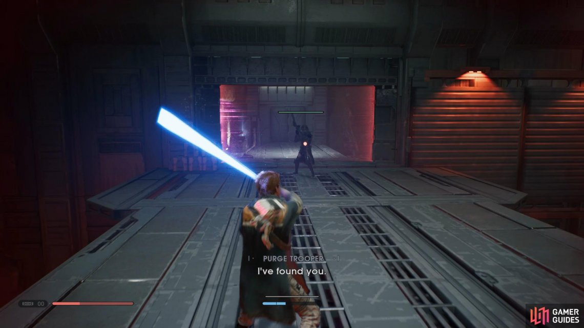 To take out the Purge Trooper, simply Force Push him off the side or use Force Slow and hit 2-3 times.
