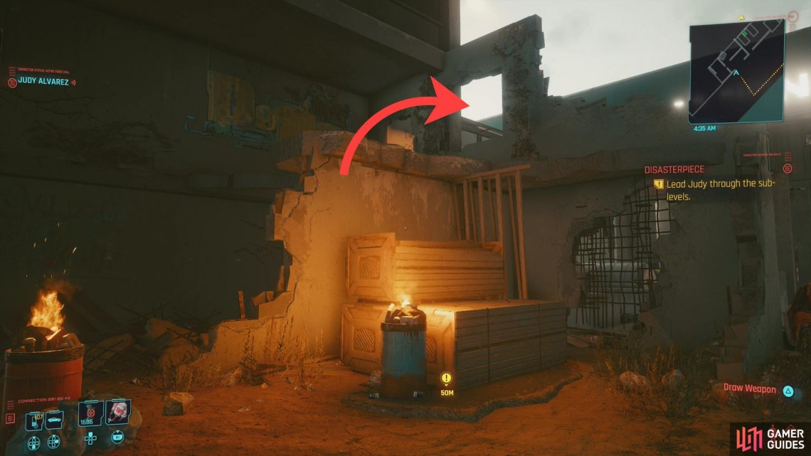 You can climb some objects to reach the upper floors of a ruined building.