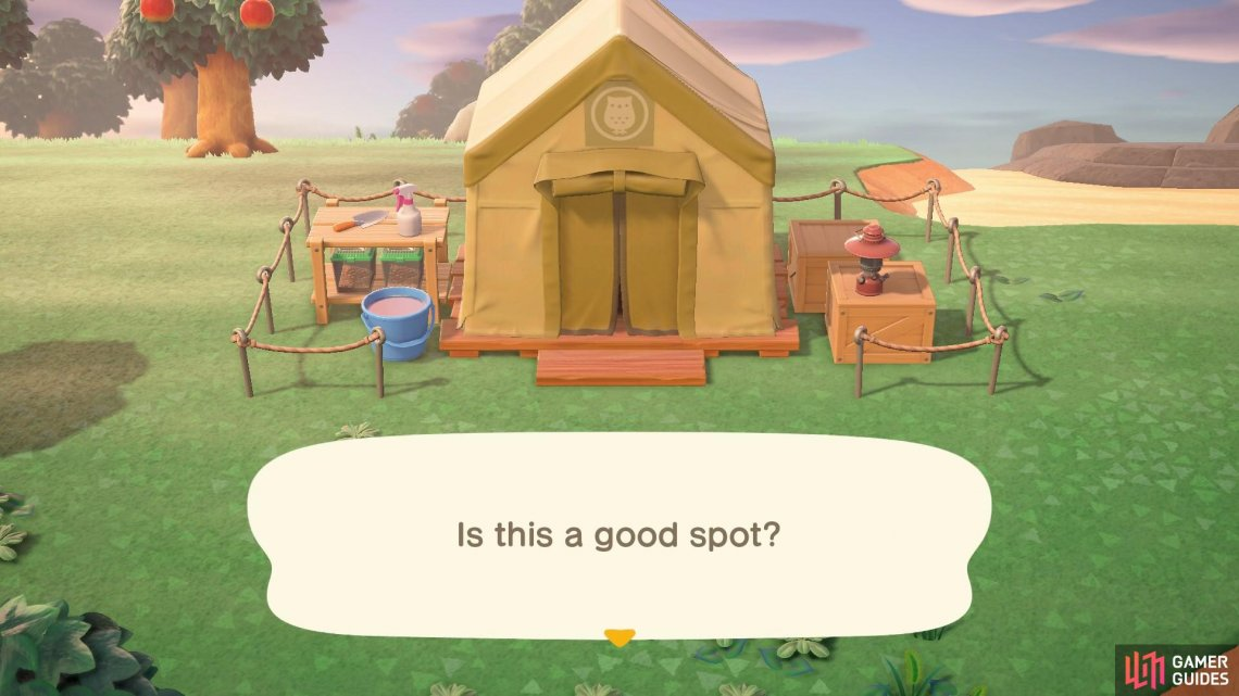 You can pitch Blathers' tent wherever you like!