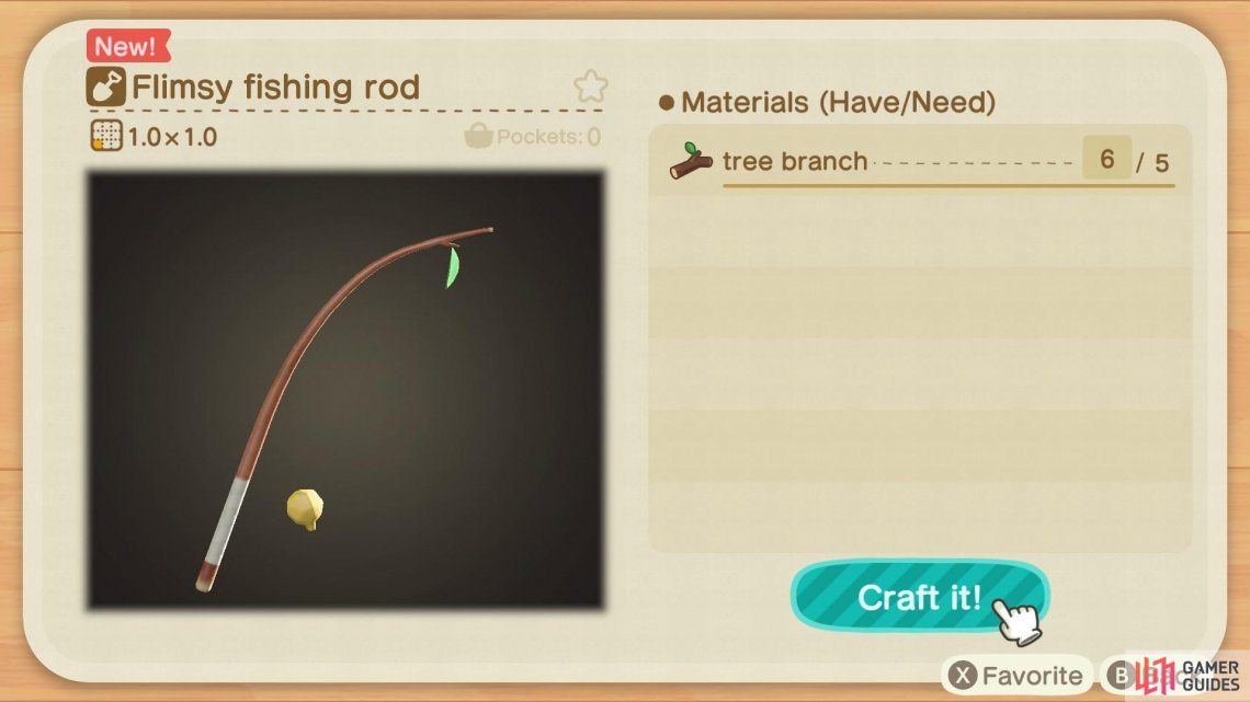 The Flimsy Fishing Rod only requires five tree branches.