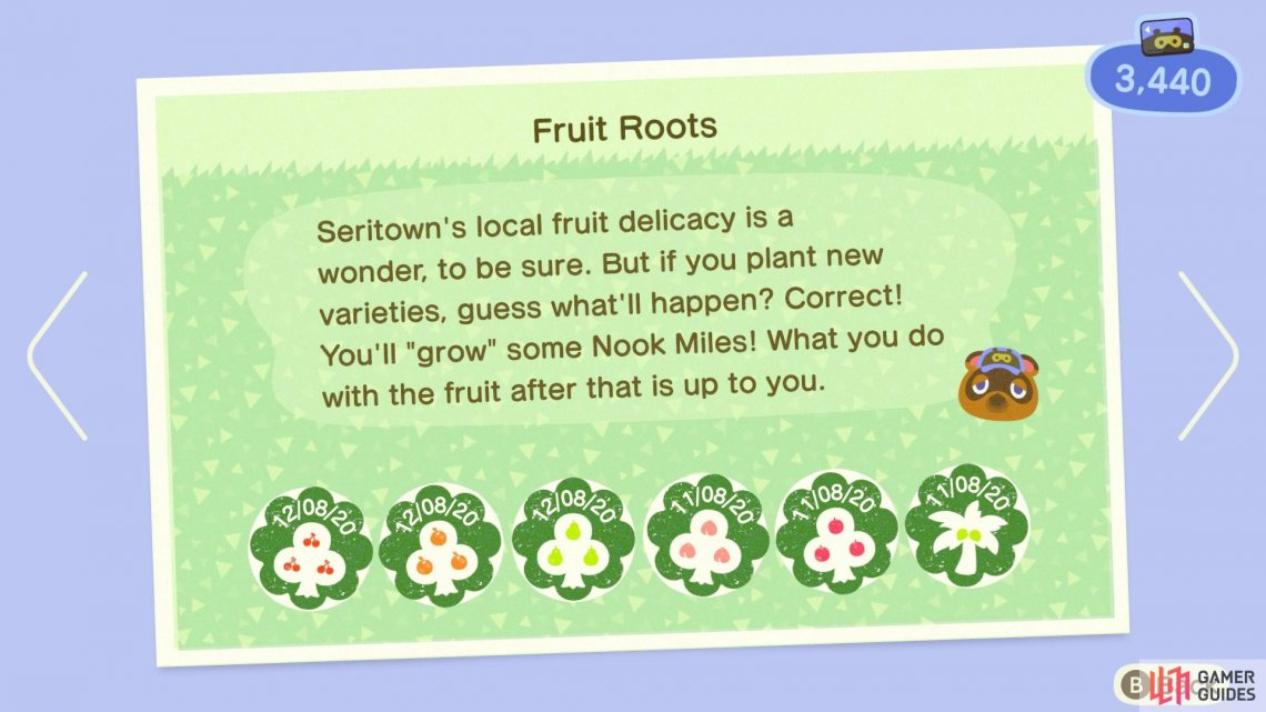 Fruit Roots rewards you for each new fruit type you have on your island!