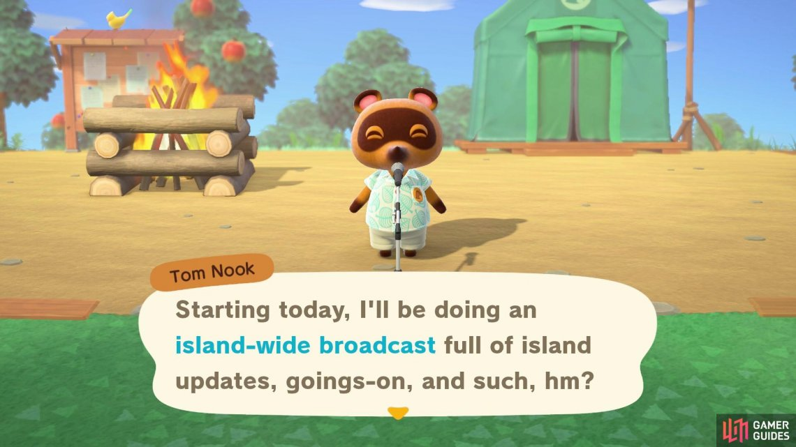 During these broadcasts, Nook will announce any island updates. They happen everyday.