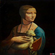 The ferret is white in the real painting