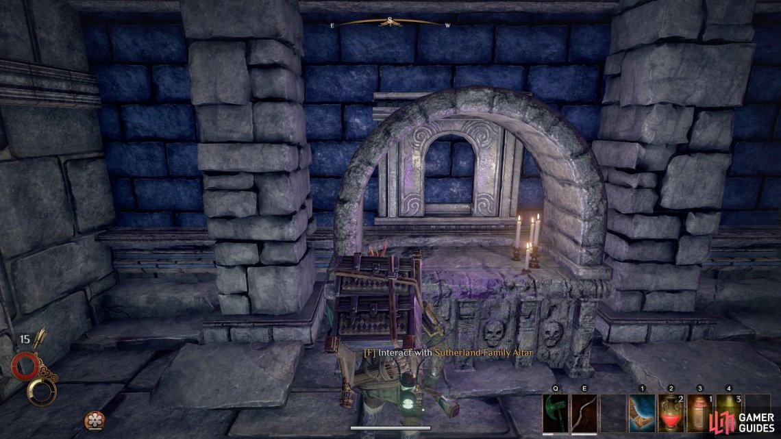 Interact with the Sutherland Family Altar and provide it with one of the Greasy Ferns that you picked up from the first room.