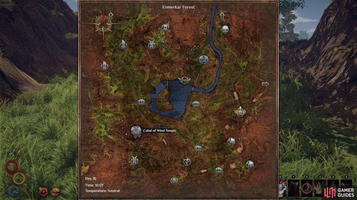The location of the  Cabal of Wind Temple on the Enmerkar Forest map.