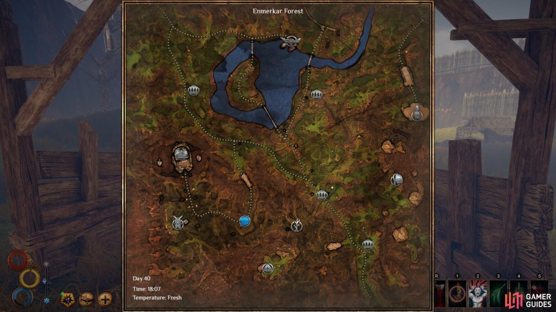 The location of the mercenary leader on the map, marked here by the blue circle.