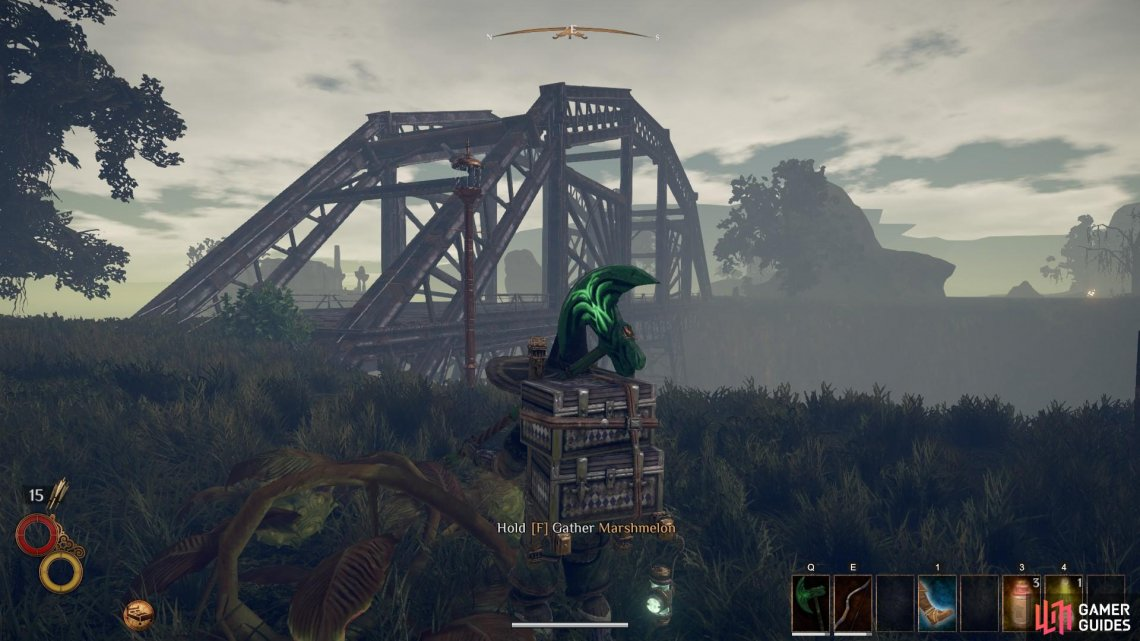 A first person perspective of the location of the second Marshmelon spawn in relation to the bridge.