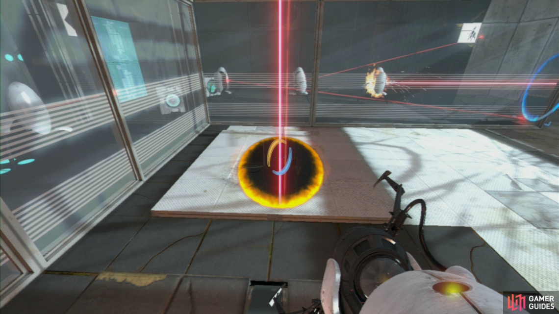 After jumping over the hidden turrets beam, position your first portal on the wall directly facing the three turrets on the right-hand side. Now stand on the red button and set the second portal directly under the laser beam.
