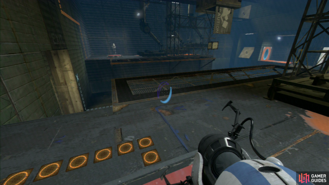 Player 2: Place a portal on slanted wall panel '1' and then time your shot into the right-hand wall so the spikes are just starting to rise back up again. If timed right, player 1 will soar through the air and past the spikes.  Both Players: Stand on the red switches at the same time to release the crate from the chute in the middle of the room. Pick it up, drop it in the floor lock to open up the exit to the sixth chamber.