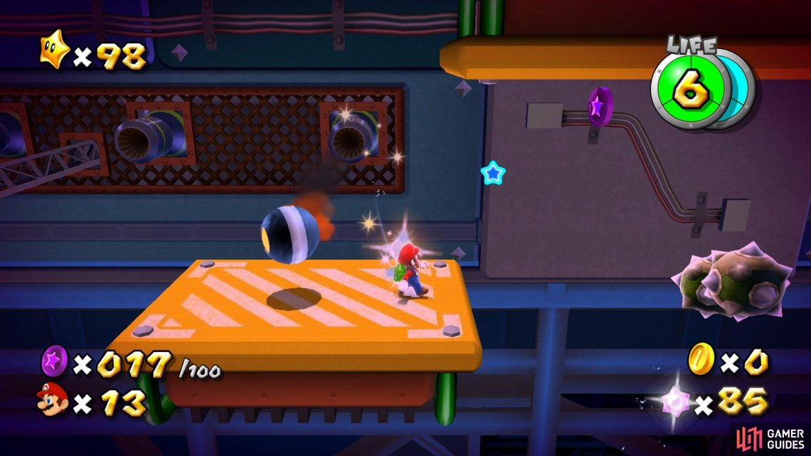 After grabbing the first 17 Purple Coins, you'll need to jump up onto an upside down platform.