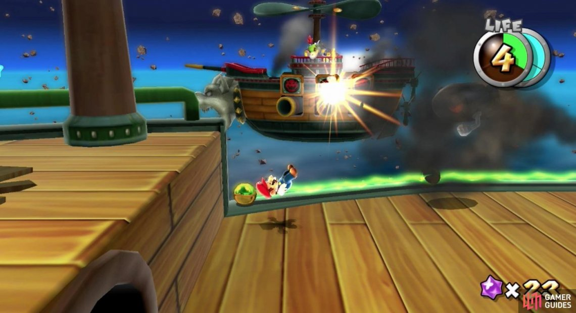 Bowser Jr.'s Airship rarely has invincibility so take every shot with a shell when you can.