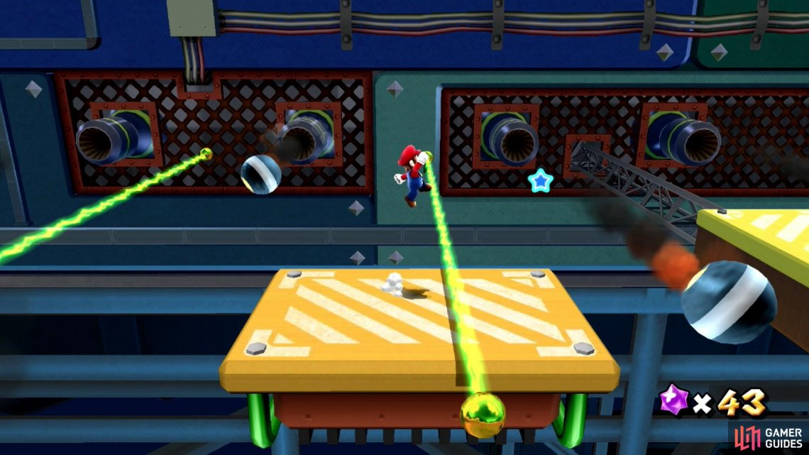Getting hit by any of these hazards will most likely lead to Mario falling off the platform.