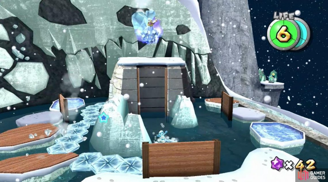 The Ice Flower is hidden within the back left of Baron Brrr's platform. Use it to reach him and get up close!