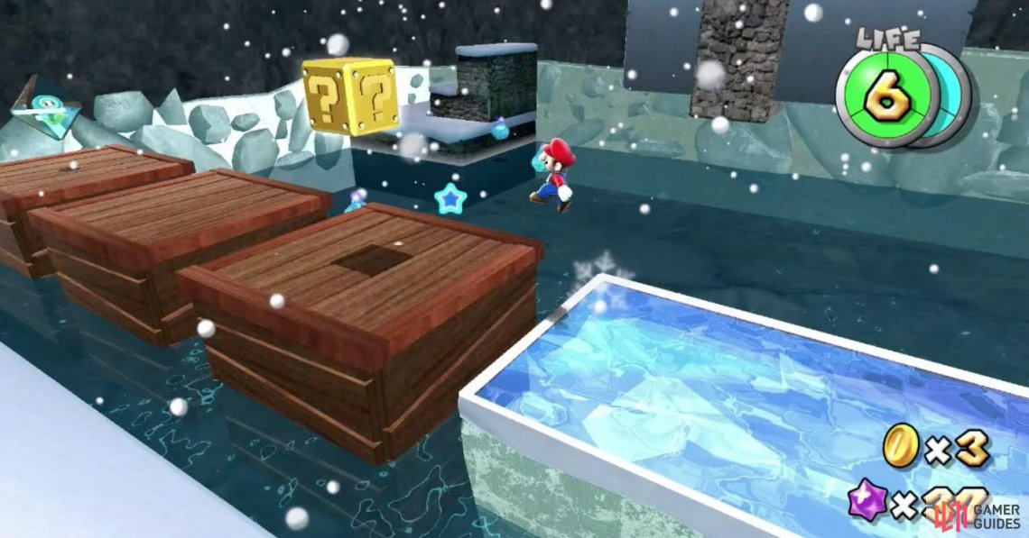 You will find an Ice Flower at the end of the wooden platforms but you will have to move quick due to its time limit