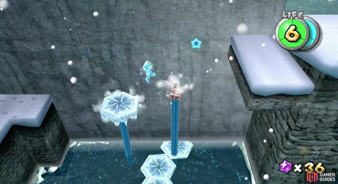 The platforms Ice Mario creates on the water spouts will quickly disappear when jump off.