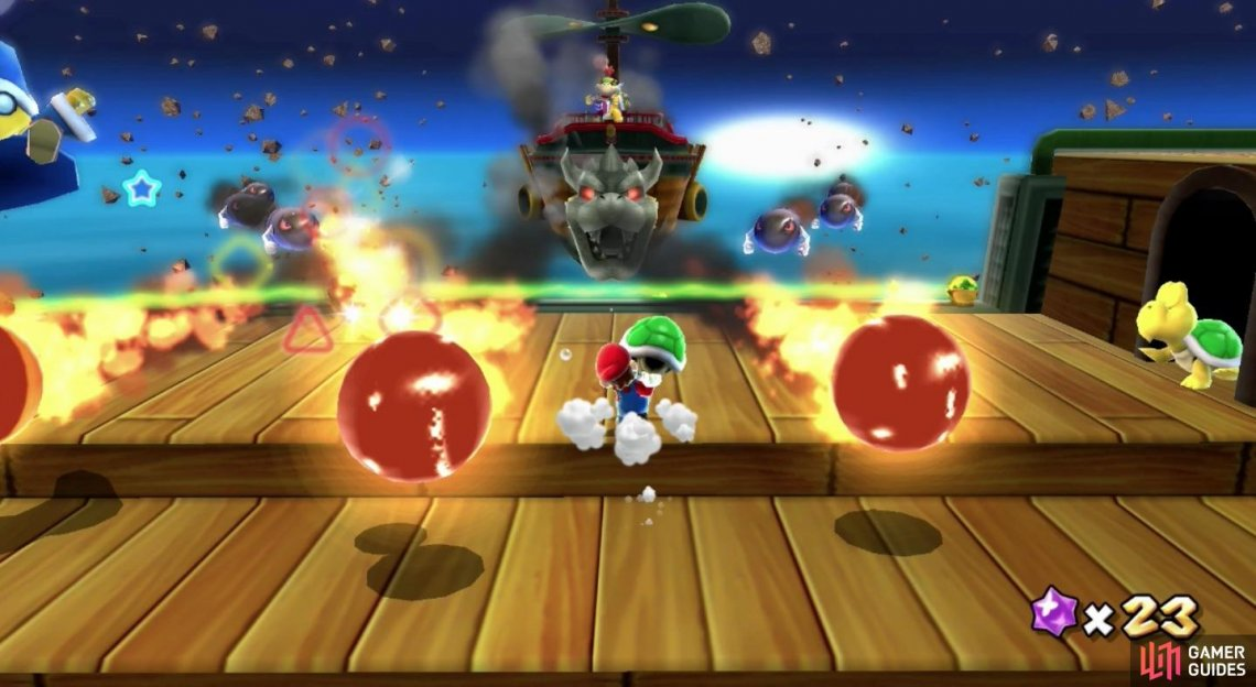 It may seem difficult with all these projectiles coming at you, but you only need to hit Bowser Jr.'s Airship one more time!