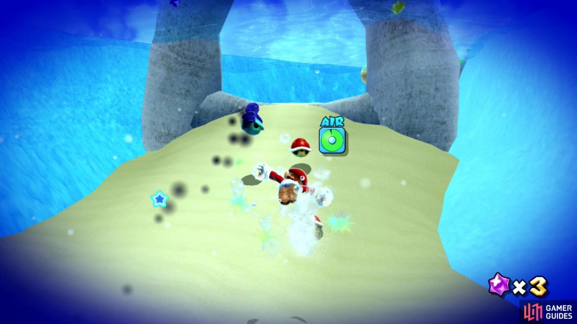 Cosmic Mario will materialize a shell and cannot be hit by thrown Red Shells.