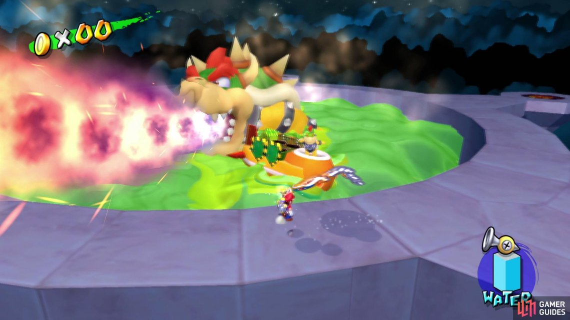 Bowser will spew flames in an attempt to block your route
