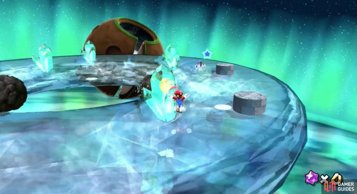 Mario is a natural skater on ice and should be able to catch the penguin with ease.