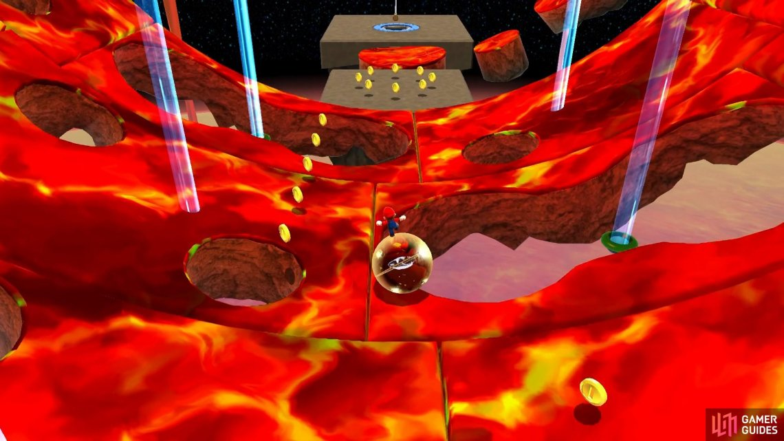 Carefully guide the Star Ball through the holes in the lava cylinder.