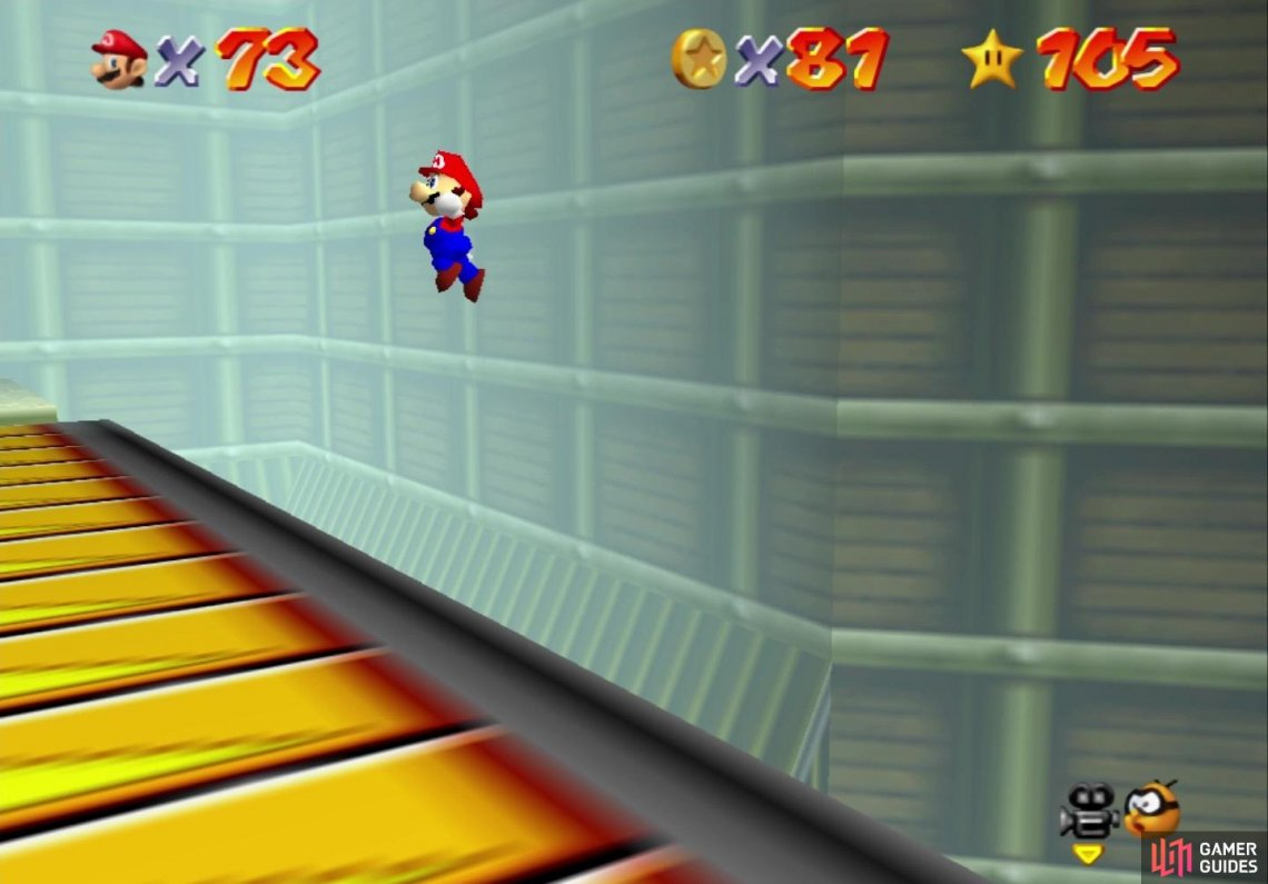 With time still, you will have to Triple Jump and Wall Jump to reach the conveyor