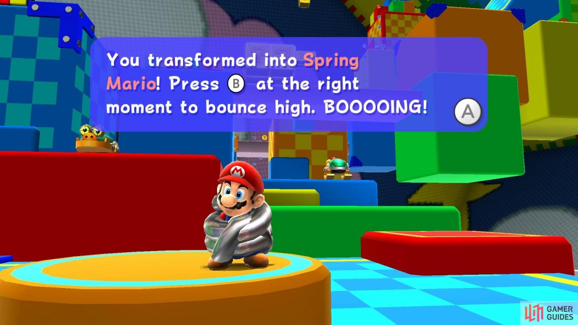 Spring Mario can jump really high but he's tricky to control.
