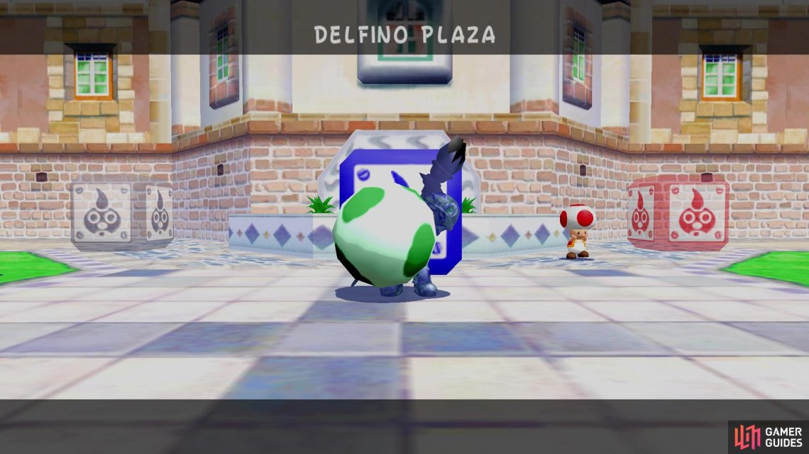 Eventually, you'll find Shadow Mario carrying items in Delfino Plaza