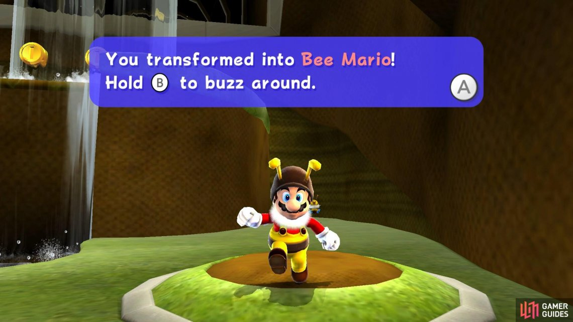 Bee Mario can fly for short amounts of time!