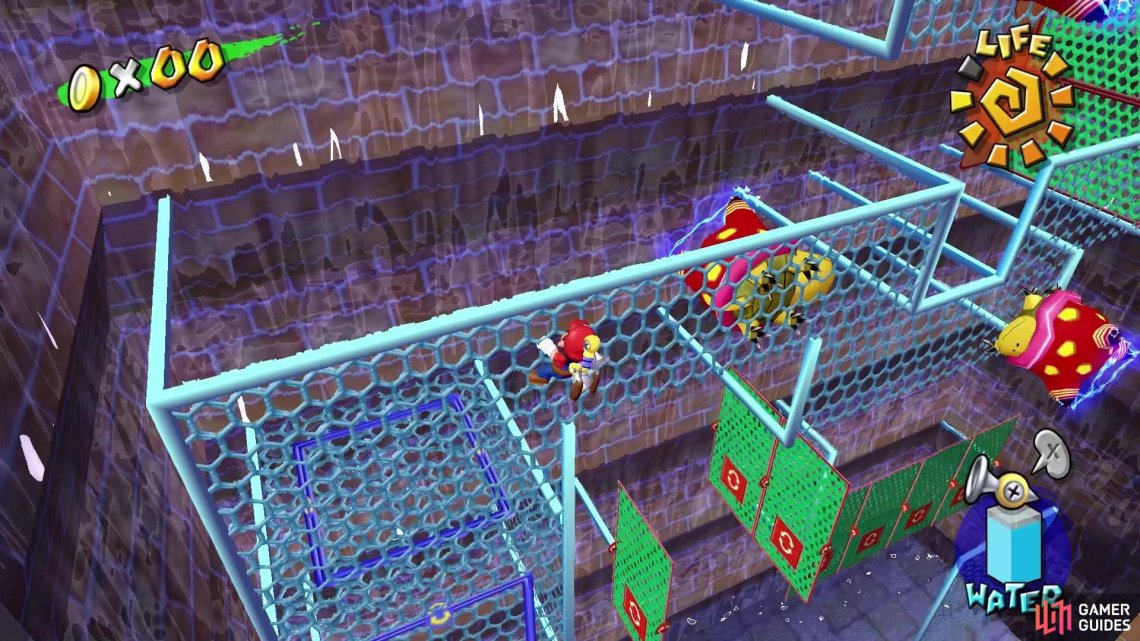 and press A to punch koopas off the mesh.