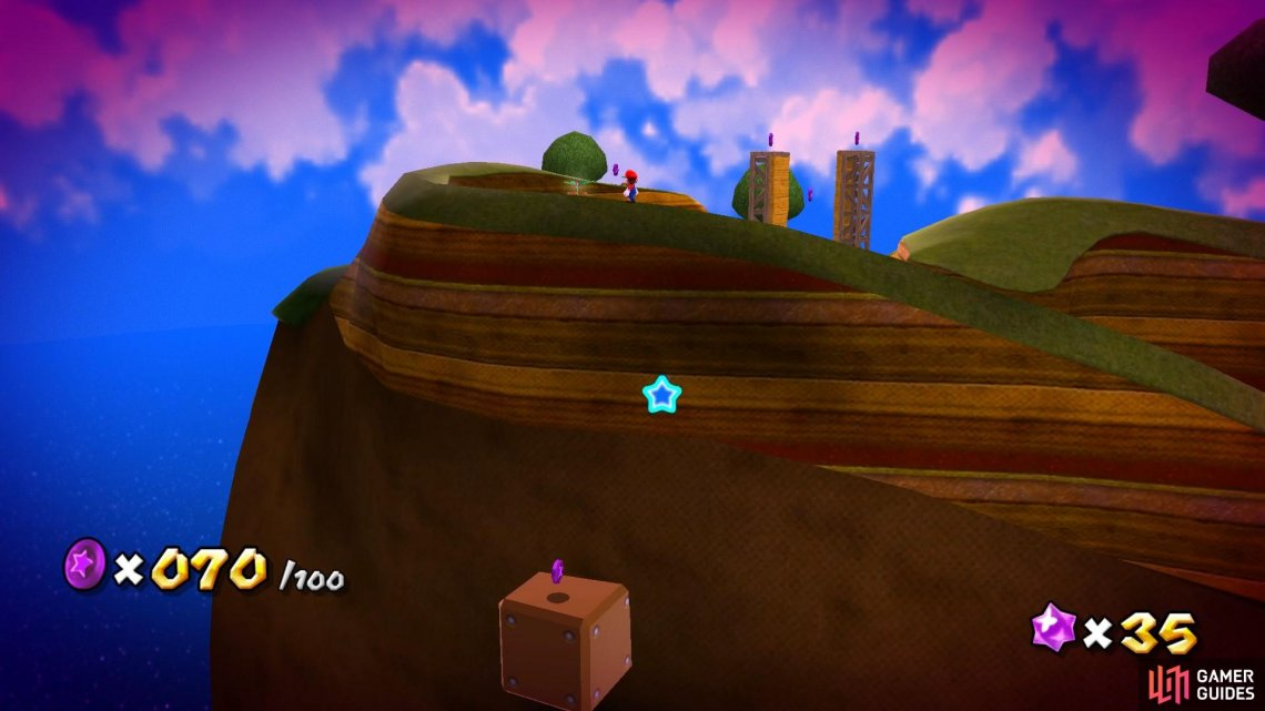Jump down onto the big blocks to grab some hidden Purple Coins!