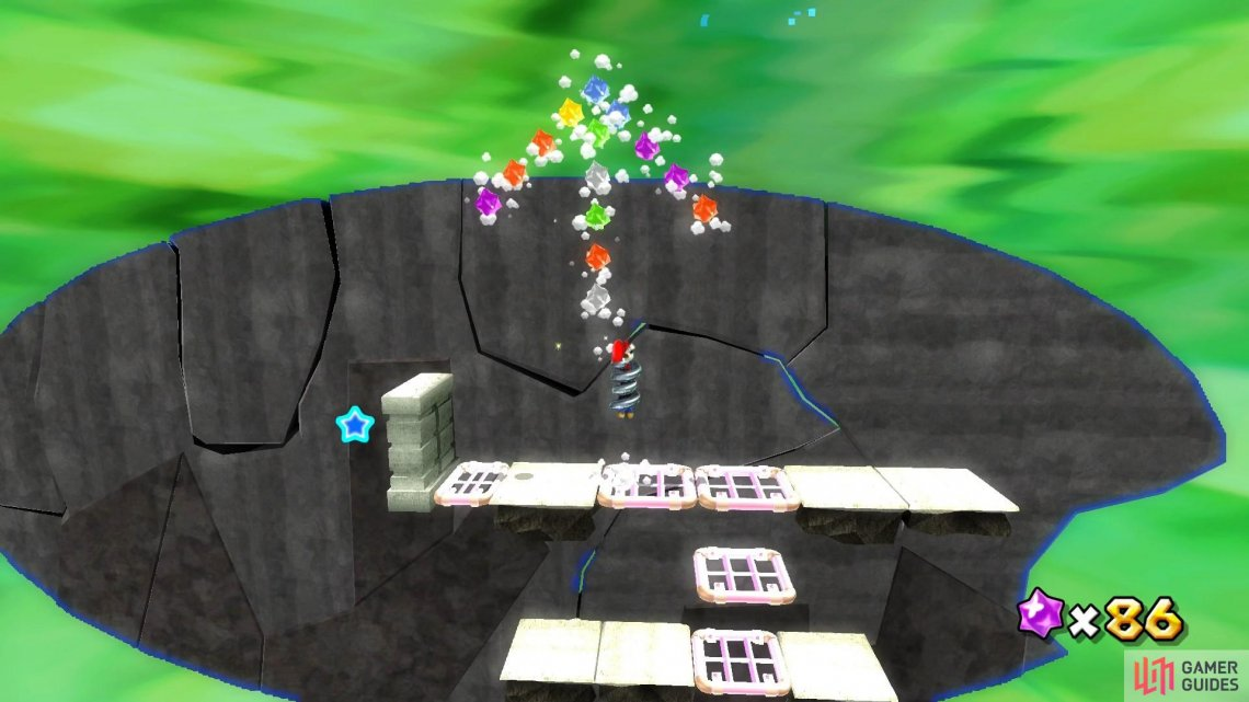 Spring Mario will need to perform lots of high jumps in this section of the level.