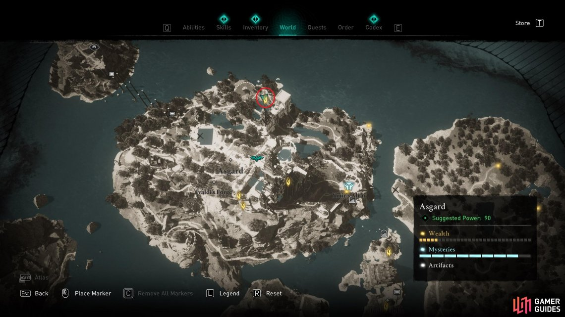 The location of the wealth at the northern side of the central island in Asgard.