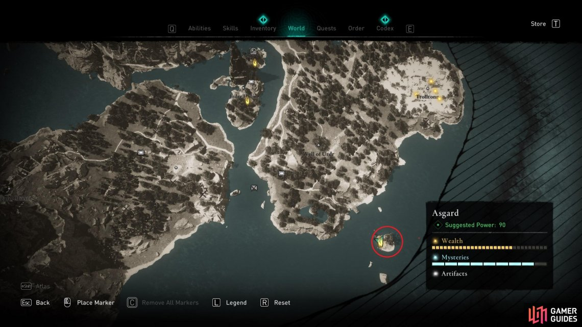 The location of the Ymir's Tear Stone on the small island in the southeast of the map.